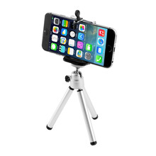 Universal Mini Tripod Aluminum Metal Lightweight Tripod Stand Mount For Phone With Phone Clip Tripod for iPhone 6 7 6s 5s Dslr G(China)