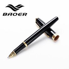 Genuine Baoer 388 Roller Ball Pen Full metal Black Rollerball Pen Golden Clip 0.5mm medium Nib Business office supplies