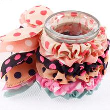 Small Rabbit Ear Hair Scrunchies Stripes Dots Lovely Colors Knot Headband Bow for Girls Headwear Hair Accessories