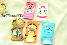 1PCS 3D Cute Cartoon Silicon Case Cover For iPhone SE 5 5G 5S Tigger Marie/Alice Cat Monsters Sulley Slinky Dog Cell Phone Cases