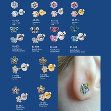 Showlove-2Pcs Surgical Steel Flower Butterfly Sterile Ear Stud Studex Tragus Cartilage Earring Piercing Body Jewelry(China)