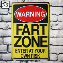 WARNING FART ZONE Poster Vintage Tin Sign Metal painting Iron Retro Plaque Wall Decor Cafe Bar Signs 20x30CM
