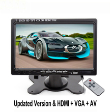 7 inch VGA Monitor TFT LCD Color Car Monitor 2 Video Input PC Audio Video Display VGA HDMI AV Input Security Monitor Car-styling