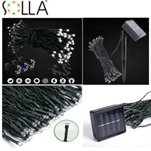 2016 Colorful Solar Energy Powered 100 LED String Fairy Bright Light Atmosphere Lamp(China)