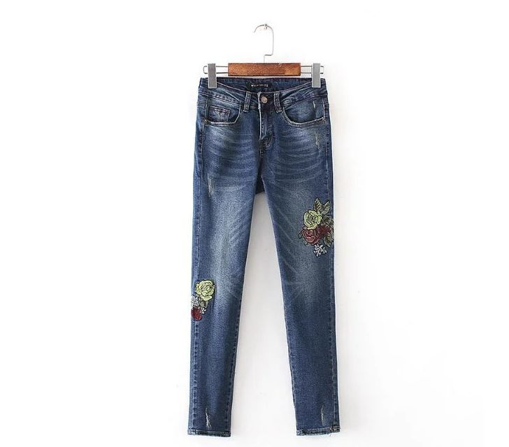 European Autumn Winter 2017 New Womens Fashion Flower Embroidery High Waist Pants Capris Jeans Women Floral Embroidered JeansОдежда и ак�е��уары<br><br><br>Aliexpress