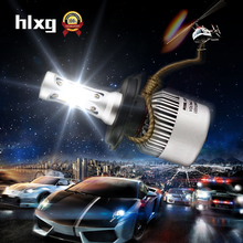 hlxg S2 Auto Car H4 H7 LED Headlights 2X36W 6500K 8000LM 12V COB Bulbs Hi Lo beam 2 / 3 Diodes White Automobiles Near Far Light