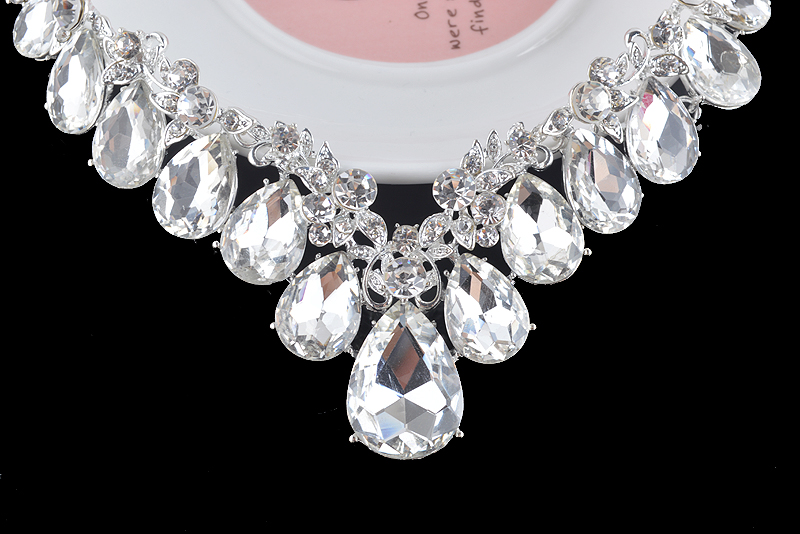 High quality wedding jewelry sets bridal silver necklace and earrings crystal rhinestone women party dress jewerly accessories 16