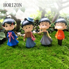 Hot 4PCs/set Japanese Anime Cartoon PVC Action Figure Little Girl Home Decoration Miniature Landscape Decors