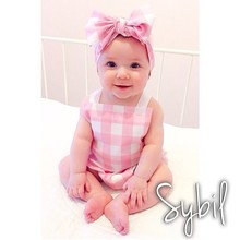 baby clothing Taken props Cute summer baby clothes bay girls jumpsuit+ headband
