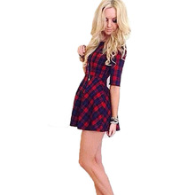 Sexy Women's Cocktail Party Half Sleeve Dress Red Plaid Check Printed Mini Dress