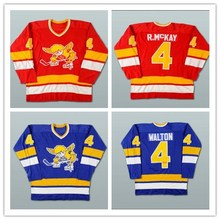 XS-5XL Mike Walton Ray McKay Minnesota Fighting Saints Blue Red Hockey Jersey Stitch Sewn Free Shipping(China)