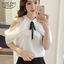 Buy New 2018 Summer Fashion Sexy Women Blouse Shirt Bow Strapless Halter Neck Collar Female Chiffon Tops Clothing Blusas 0571 40