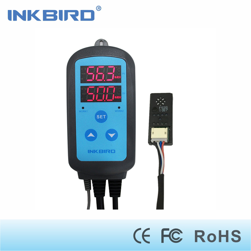 Inkbird IHC-200 Pre-wired Digital Dural Stage Humidity Controller, Dehumidification Humidifaction Control for Humidifier and Fan<br>