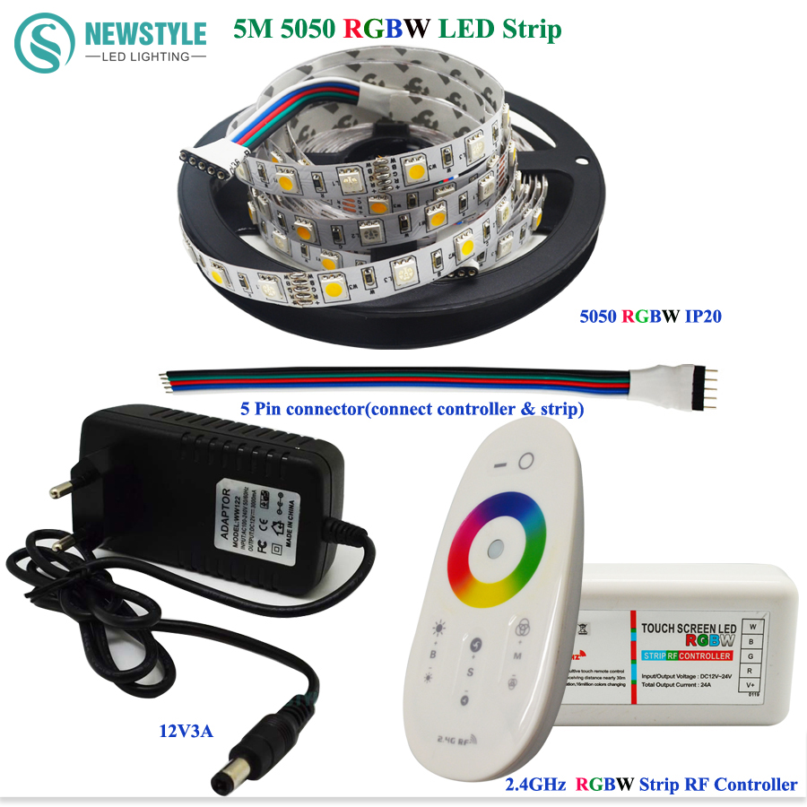 DC12V 5050 RGBW/RGBWW Led Strip Light Waterproof FlexibleTape Ribbon SMD + RF Touch Remote Controller + 3A Power Adapter Supply<br><br>Aliexpress