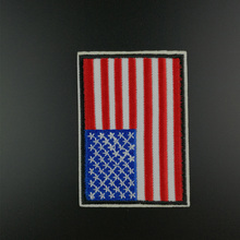 1 Pc US United States Flag Patches for Clothes Jeans Embroidered Iron on Patch Badges Applique Clothing Decor Accessory(China)