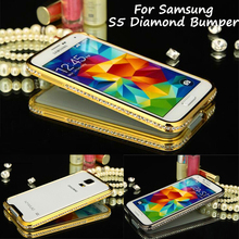 For Samsung S5 S 5 G900 Bumper Luxury Diamond Crystal Bling Metal Bumper Case Cover for Samsung Galaxy S5 G900 I9600 G900F G900A(China)