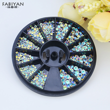 Mix Size 3D Round AB Rhinestone Crystal Glitter Bead Pearl Wheel Nail Art Tips Jewelry Decoration DIY Manicure Accessories Tool(China)