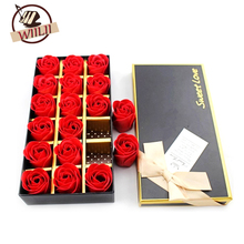 1Set 18 Rose Soap Flower Petals Valentine Wedding Mothers Day Rose birthday Gift Box Deco(China)