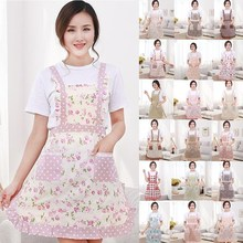 1Pcs Pink Flower Dots Plaids Apron Woman Adult Bibs Home Cooking Baking Coffee Shop Cleaning Aprons Kitchen Accessories 46009(China)