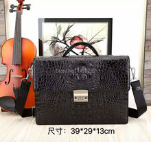 100% Genuine/Real Crocodile Skin Leather Men Business Bag code lock,Men Briefcase Laptop Bag Top Handbag Black/Brown/Coffee