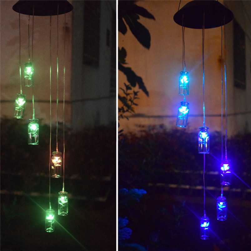 Solar Color-Changing Wind Chime Light LED Garden Hanging Spinner Lamp Color Changing Wind Chime Light Luces 40JUN258