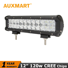 Auxmart 5D CREE chips 12 inch 120W LED Work Light Bar Offroad Light Bar for 12V 24V SUV ATV Wagon 4WD 4X4 RZR Boat LED Bar