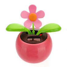 Flip Flap Solar Powered Flower Flowerpot Swing Dancing Toy Novelty Home Ornament - Pink