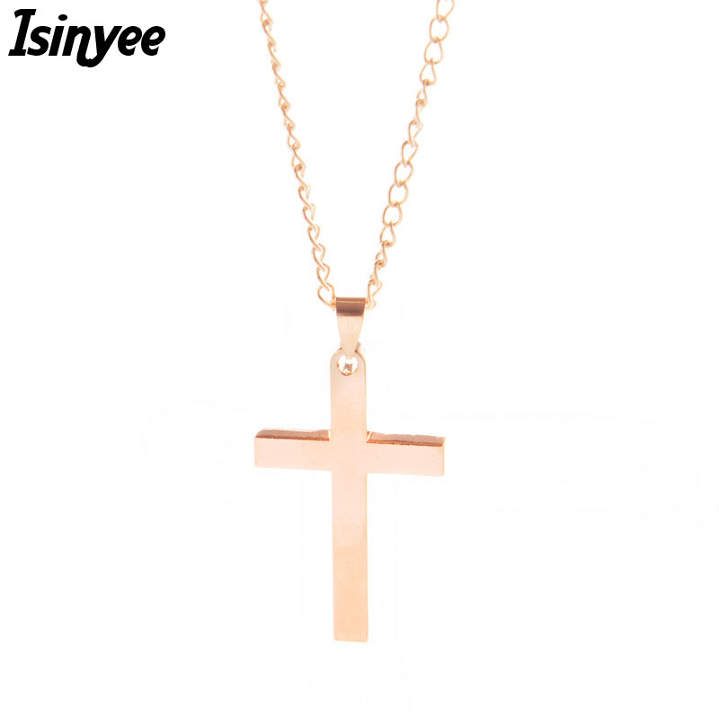 ISINYEE Fashion Titanium Cross Pendant Lariat Necklaces For Women Gold Silver Plated Christian Jesus Jewelry Accessories(China (Mainland))