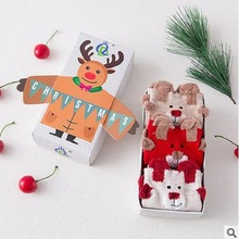 2017 autumn and winter Christmas gift box socks Christmas socks 3 double-loaded three-dimensional cartoon elk my life lady red s(China)