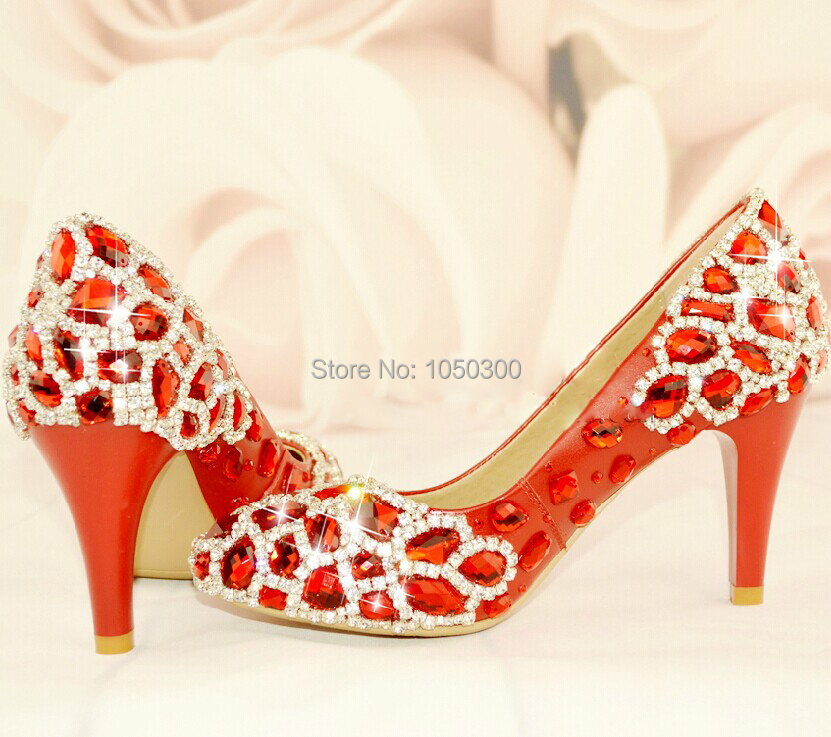 Elegant Red Rhinestone Wedding Dress Shoes Luxury Woman Bridal Shoes Lady Crystal Evening Party Prom Shoes Free Shipping<br><br>Aliexpress
