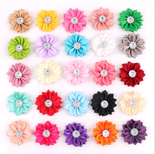 50 pcs/lot Satin Flower WITHOUT Clip Fabric Flower With Rhinestone For Kids Girls Headbands Appliques Garment Accessories A290(China)