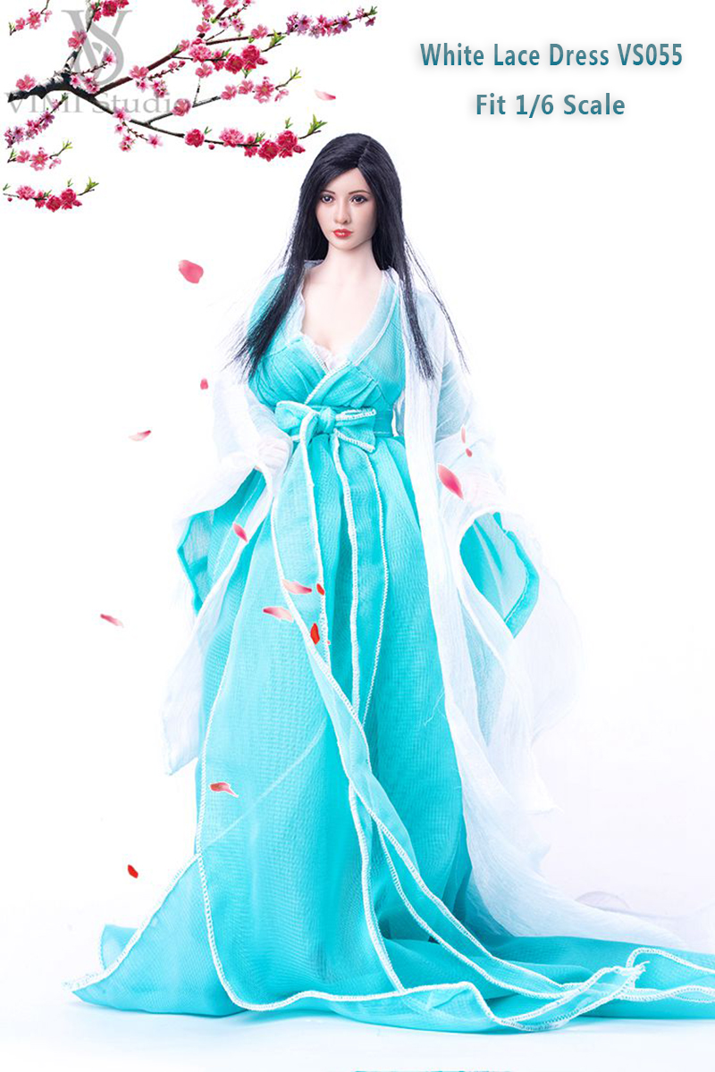 1/6 Female White Lace Dress VS055 Light Blue Bowknot Costume Dress Suit For 12 Phicen HT Jodoll TTL TOYS Doll Action Figure<br>
