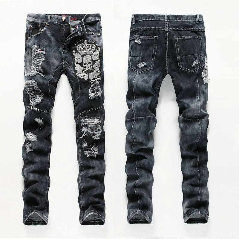 new brand men designer ripped hole biker jeans embroidered skull pattern design mens straight slim fit distressed denim jeans