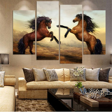 4 Panels Canvas Printing Posters HD Printed Painting Canvas Print Art Home Decor Blue Sea Wild Horses  Wall Art Pictures 2 Types
