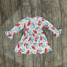EXCLUSIVE !!! mermaid 2018 hot sale girls ruffle boutique dress children clothes milk silk spring three quarter(China)