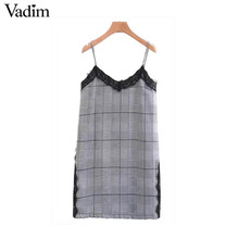 Vadim sexy lace patchwork checkered pearls dress plaid spaghetti strap vintage clasp houndstooth shift dresses vestidos QZ3278(China)
