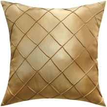 Free shipping Handcraft Diamond Pintuck Faux Silk Cushion Cover in Gold Color p2825