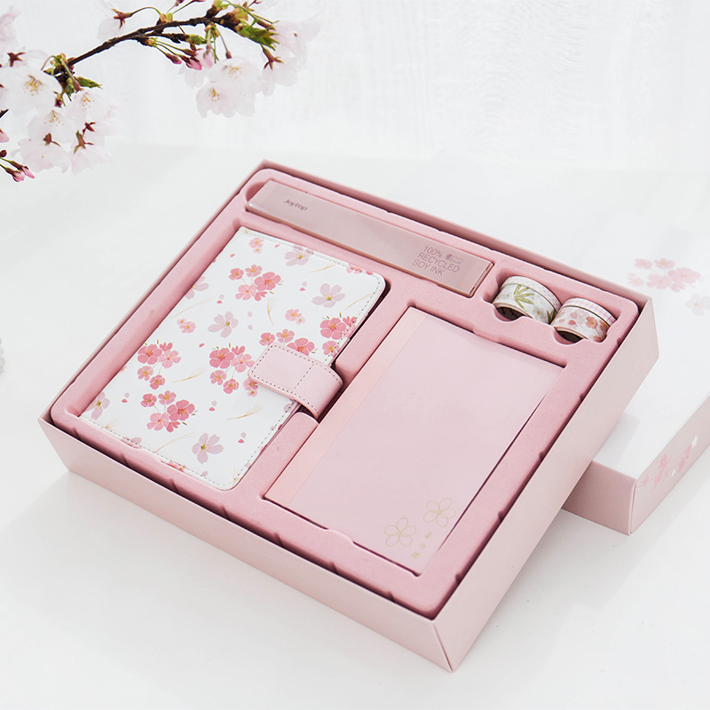 Kawaii Gift Set Sakura Notebook/Washi Tap/Pen/Ruler Janpanese DIY Planner Diary Office and School Supplies Cute Stationery<br>