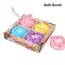 1 Box Donuts Bath Bombs Ball Natural Sea Salt strawberry blueberry grape lemon bath bomb Bubble Essential Body Scrub(China)