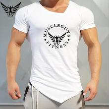 Muscleguys Original Brand Men's T-shirt summer V neck short sleeve t shirt men fashion gyms bodybuilding and fitness clothing