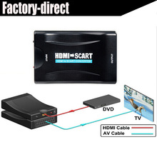 1080p HDMI to Scart converter kabel with power supply for PS4 DVD ect to old TV with scart(China)