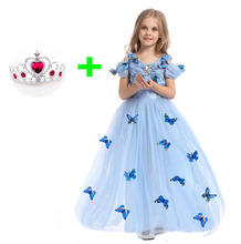 Fashion 2017 Princess Costume Blue Girls Party Prom Fancy Dress for Girls 4 5 6 7 8 9 10 To 12 Years Girl Kids Dream Dresses(China)