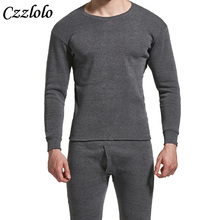 Czzlolo Winter Men Long Johns Thicken Mens Thermal Underwear Sets Plus Fluff Warm Long John O-Neck Thermal Undershirts Trousers(China)