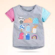 New Summer Cotton Printed Round Neck Baby Girls T shirt Brand Children's Clothes Kids Tee Next Clothing Style 1-6 years