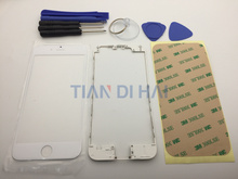Front Outer Screen Glass Lens Cover Replacement For iPhone 6 4.7 Touch Screen with lcd frame + sticker + tools