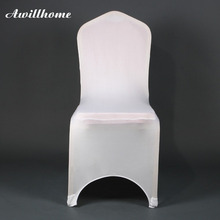 Awillhome shipping free 100 pcs spandex white chair covers good quality for wedding decoration(China)