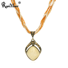 RAVIMOUR New 2017 Vintage Bohemian Imitation Gemstone Jewelry Handmade Beads Chain Statement Necklaces Pendants For Women