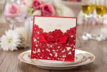 Customized RED laser cut flower wedding party invitation card with ribbon, marriage matrimonio convites,100PCS, Express shipping(China)