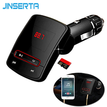 JINSERTA Hands Free FM Transmitter AUX Modulator Car Kit TF Micro SD USB Music MP3 Player USB Charger with Remote
