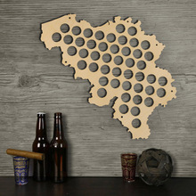 Free Shipping 1Piece Belgium Beer Cap Map Wood Laser Engraved Craft Hanging Wooden Map Wall Decor Map Gift For Cap Collector